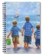 Three Little Beach Boys Walking Spiral Notebook