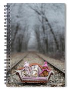 Three Little Teddy Bear Sit In A Sofa In The Middle Of The Winter Forest Spiral Notebook