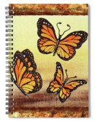 Three Monarch Butterflies Spiral Notebook