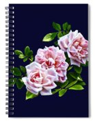Three Pink Roses With Leaves Spiral Notebook