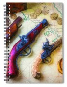 Three Pistoles On A Map Spiral Notebook