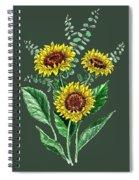 Three Playful Sunflowers Spiral Notebook