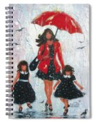 Three Rain Girls Red And Black Spiral Notebook