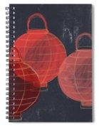 Three Red Lanterns- Art By Linda Woods Spiral Notebook