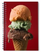 Three Scoop Ice Cream On Red Background Spiral Notebook