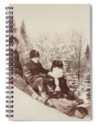 Three Tobogganers On A Snowy Hill Spiral Notebook