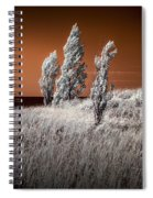 Three Trees  In Infrared On Top Of A Grassy Dune Spiral Notebook