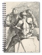Three Warriors Conversing At A Low Wall, One With His Back Turned Spiral Notebook