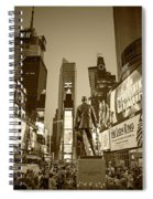 Times Square Ny Overlooking The Square Sepia Spiral Notebook