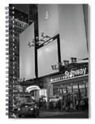 Times Square Subway Stop At Night New York Ny Black And White Spiral Notebook