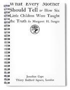 Title Page Of Margaret Sanger Spiral Notebook