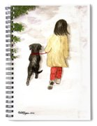 Together - Black Labrador And Woman Walking Spiral Notebook
