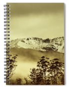 Toned View Of A Snowy Mount Gell, Tasmania Spiral Notebook