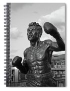 Tony Demarco Boxer Statue North End Boston Ma Sunset Black And White Spiral Notebook