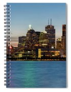 Toronto Skyline At Dusk Panoramic Spiral Notebook