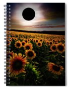 Total Eclipse Over The Sunflower Field Spiral Notebook