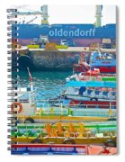 Tour Boats In Port Of Valparaiso-chile Spiral Notebook