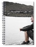 Tourist Seated At Dove Lake Lookout In Tasmania Spiral Notebook