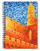 Tower Of David At Night Jerusalem Original Palette Knife Painting Spiral Notebook