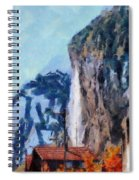 Towering Cliffs And Houses Spiral Notebook