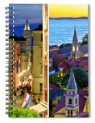 Town Of Zadar Evening And Sunset Travel Collage Spiral Notebook