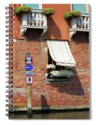 Traffic Signs On The Canal In Venice Italy Spiral Notebook