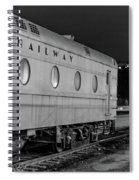 Train Car, Black And White Spiral Notebook