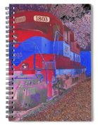Train On Railroad Tracks - Abstract In Blue And Red Spiral Notebook