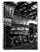 Trains 3007 C B Q Steam Engine Bw Spiral Notebook