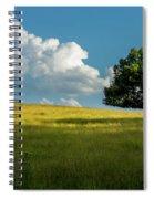 Tranquil Solitude Billowing Clouds Oak Tree Field Art Spiral Notebook