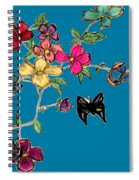 Transparent Flowers And Butterflies In Color Spiral Notebook