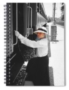 Traveling By Train - Black And White Focal Spiral Notebook