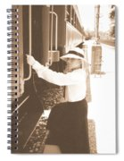 Traveling By Train - Sepia Spiral Notebook
