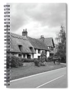 Travellers Delight - English Country Road Black And White Spiral Notebook