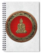 Treasure Trove - Gold Buddha On White Leather Spiral Notebook