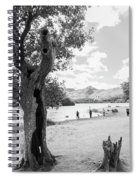 Tree And People By The Lake Spiral Notebook