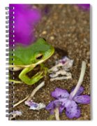 Tree Frog Under Flower Spiral Notebook