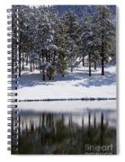 Trees Reflecting In Duck Pond In Colorado Snow Spiral Notebook