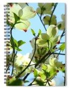 Trees White Dogwood Flowers 9 Blue Sky Landscape Art Prints Spiral Notebook