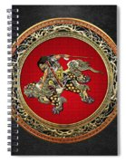 Tribute To Hokusai - Shoki Riding Lion  Spiral Notebook