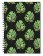 Tropical Leaves On Black- Art By Linda Woods Spiral Notebook