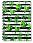 Tropical Leaves Pattern In Watercolor Style With Stripes Spiral Notebook