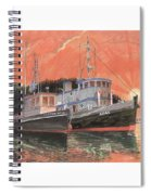 Tug Boats Anchored In Red Sky Spiral Notebook