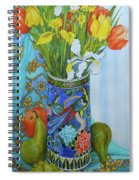 Tulips And Iris In A Japanese Vase, With Fruit And Textiles Spiral Notebook