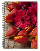 Tulips And Red Daisies  Spiral Notebook