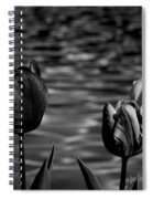 Tulips In Black And White Spiral Notebook