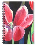 Tulips On Black Spiral Notebook