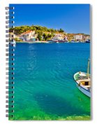 Turquoise Beach And Boat In Rogoznica Spiral Notebook