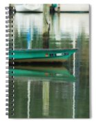 Turquoise Workboat On The Calm Harbor Spiral Notebook