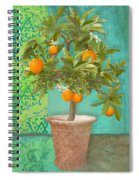 Tuscan Orange Topiary - Damask Pattern 2 Spiral Notebook